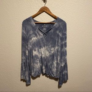 NWOT Soft and Sexy American Eagle Blue Tie Die Top